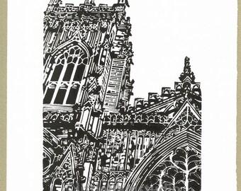 York UK, York Minster West Window - Linocut Original hand pulled Relief Print