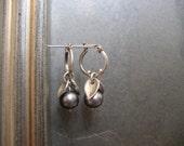 Freshwater pearl and sterling silver hoop earrings