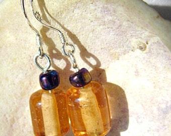 Amber Glass and Indigo Seed Bead Earrings   ID 278
