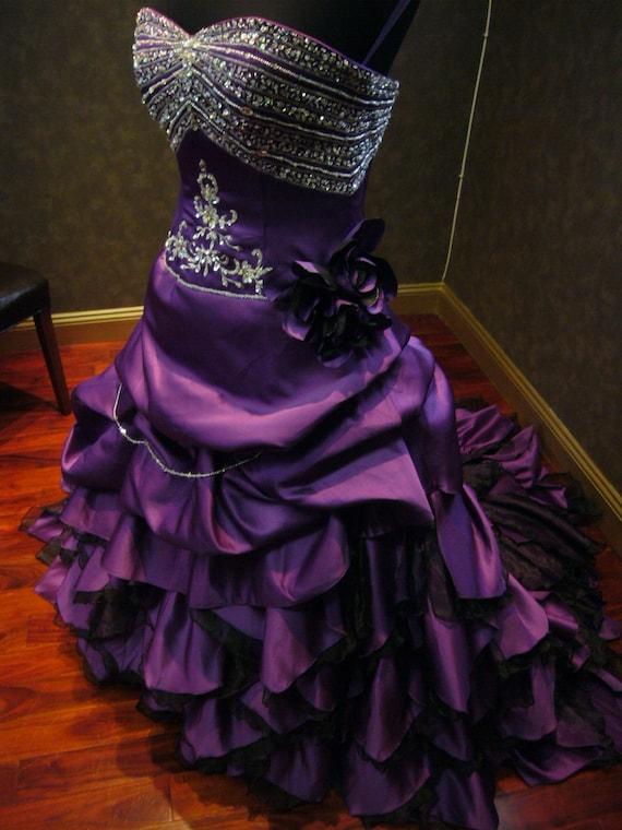 Royal Purple Wedding Dress Alternative Offbeat Custom Made to