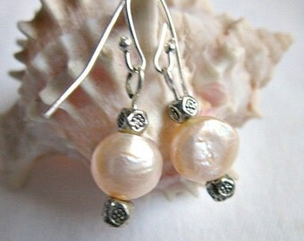 Pink Pearl Earrings, Pink Freshwater pearls. ID 157