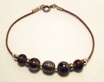 Brown Leather Bracelet with Ball & Glass Beads