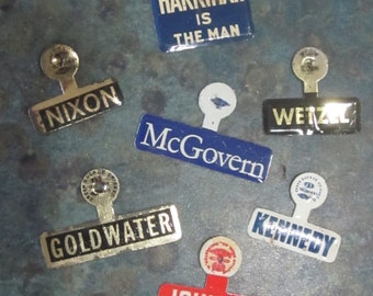 Vintage Political Campaign Lapel Pins Harriman, Johnson, Humphrey, Goldwater, Wetzel, McGovern, Nixon, Kennedy