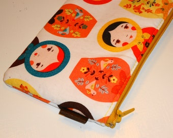 Russian Nesting Dolls Padded Pencil Case --- Matryoshkas on White