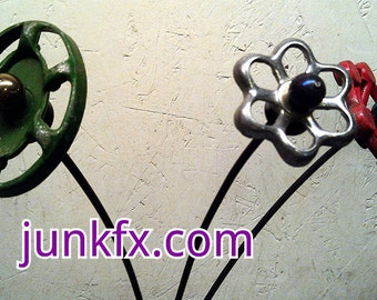 Recycled Garden Art Faucet Handle Flowers Set of  3  by junkfx Free Shipping