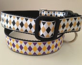 1 inch Large LSU or Saints Purple and Yellow Argyle or Gold and Black Argyle Dog Collar