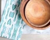Modern Geometric Aqua Colored Arrow Pattern Tea Towel, Bright Dish Towel, Cotton-Linen Table Setting