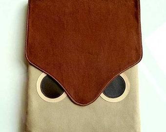 Owl iPad Case, iPad Cover, iPad Sleeve, Tablet Case, Tablet Cover, Tablet Sleeve, Fabric iPad Case, Fabric iPad Cover, Brown Beige Color