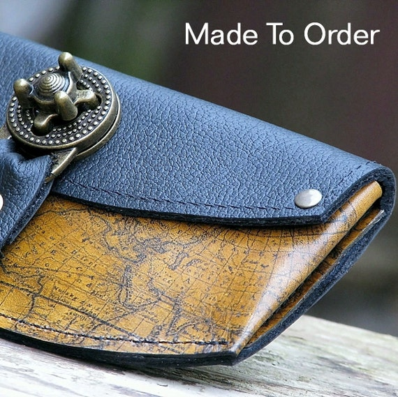 Women's Leather Wallet - World Map Steampunk  with Antique Brass Hardware - MADE To Order