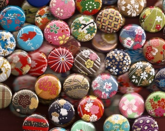100 Japanese Paper 1 Inch Button Assortment - Great Wedding/Party Favors