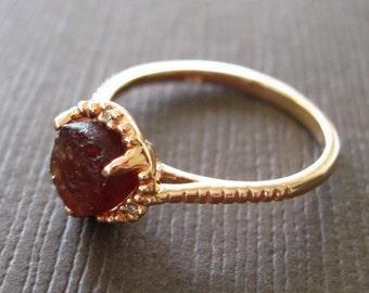 SALE - Organic Raw Dark Pink Tourmaline 22k Rose Gold Vermeil Clutch Solitaire Cocktail Ring Birthstone Ring