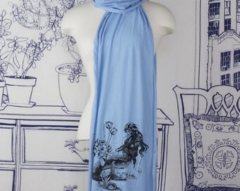 Mermaid La Luxure Screen printed Cotton Scarf