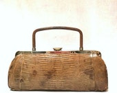 Fabulous VINTAGE CROCODILE PURSE / Alligator Reptile Skin Handbag / Retro 1950s