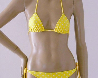 Yellow Polka Dot Triangle Top and Retro Tie Bottom Two Piece Bikini in Top Sizes to DD