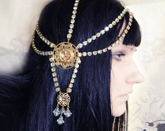 Diabolic Art Deco Rhinestone Headpiece  Headdress Art Nouveau Goddess READY TO SHIP