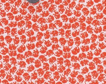 Half yard - Little Elephants in Tangerine - Michael Miller cotton quilt fabric