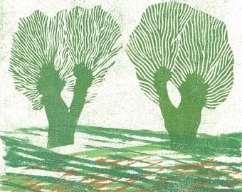 Woodblock & Linoblock Print - HOLLAND WILLOWS 4 - Modern Nursery Art 6x6