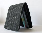 Mens Minimalist Slimline Wallet Grey Pinstripes Wool 5 Pockets