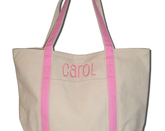 Monogrammed Canvas Boat Teacher Tote Large Weekender Bag Embroidered Sturdy Personalized Colors Preppy