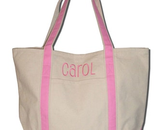 Monogrammed Canvas Boat Teacher Tote Large Embroidered Sturdy Personalized Colors Preppy