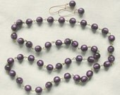 Purple Lucite Moonglow Endless Necklace and earrings