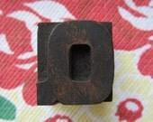 Antique Letterpress Wood Type Printers Block Letter Q