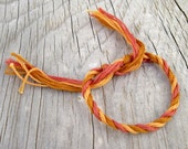 Fiber Friendship Bracelet, Orange Bracelet, Tie On Bracelet, CARE PACKAGE