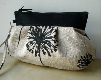 Black Denton Dandelion - Zipper Pouch with Clip