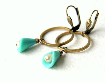 Flower Earrings - Lily Earrings - vintage turquoise glass flower earrings - pearl earrings - garden - floral jewelry - June birthstone