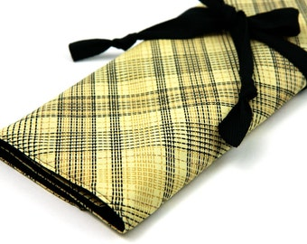 Large Knitting Needle Case - Countryville Plaid - black pockets for circular, straight, dpns