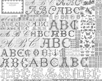 c1900 DMC Embroidery Book Patterns Bead Cross Stitch Dilmont Embroiderer's Alphabets DIY Hand Embroidered