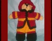 Fireman Teddy Bear, crochet pattern