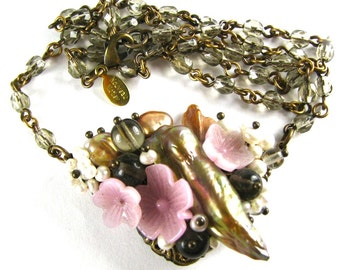 "Freeform ""Bouquet"" Necklace with Vintage Glass Flowers Czech Glass and Freshwater Pearls ""PRINTEMPS"" Altered Heirlooms by Nouveau Motley"