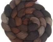 Handpainted Dark BFL Wool Roving - 4 oz. CAPPUCCINO - Spinning Fiber