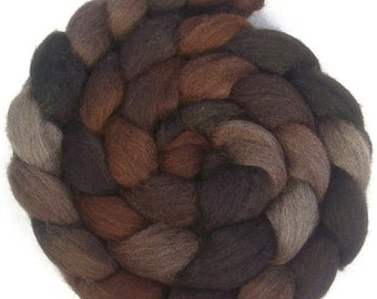 Handpainted Dark BFL Wool Roving - 4 oz. CAPPUCCINO - Spinning Fiber