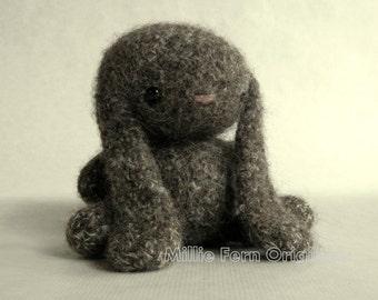 Felted Wool Bunny Crochet Plush Toy Truffle Tweed