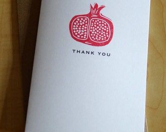 Pomegranate Thank You Cards - Fruit Thank You - Hand Printed Thank You Cards - Box of 6