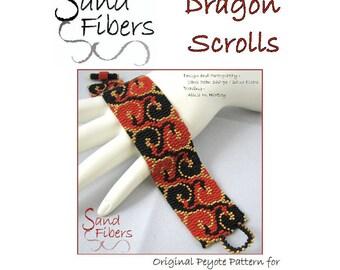 Peyote Pattern - Dragon Scrolls Peyote Cuff / Bracelet  - A Sand Fibers For Personal/Commercial Use PDF Pattern