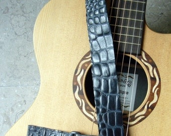 Navy Embossed Crocodile Leather Straps for Ukeleles or Small Guitars