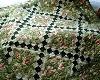 Floral Irish Chain PDF Quilt Pattern, beginner quilters, Quick Strip quilted project, Traditional, Download, QuiltsyDestashParty, pdf