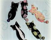 Handmade Cat Brooch Kitty Pin with Bell