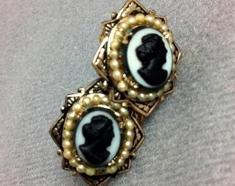 Vintage Cameo Art Deco Earrings