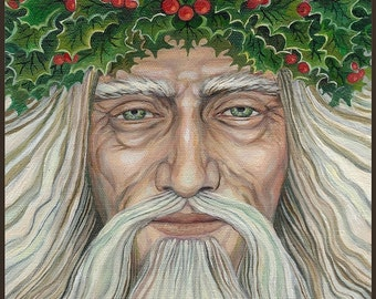 The Holly King 11x14 Fine Art Print Pagan Mythology Bohemian Yule Winter Solstice Lord Goddess Art