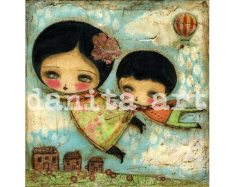 Fying Together - Giclee Reproduction Of Original Collage Painting By Danita Art (Paper Prints and ACEO Wood Mounted)