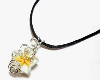 Perfume Pendant - PREMADE - Aromatherapy Wire Wrapped White Polymer Clay Tropical Plumeria Flower