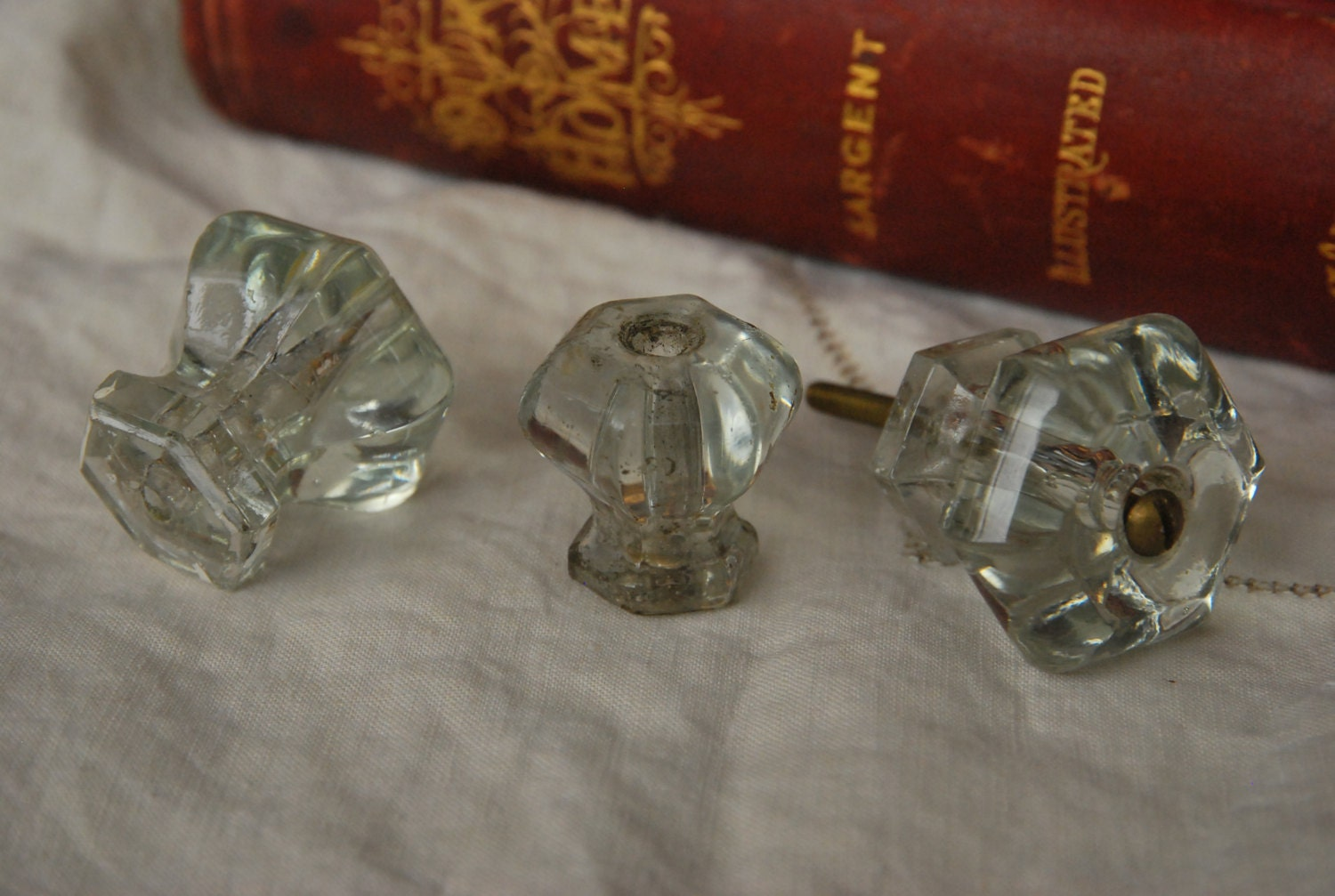 Vintage Clear Glass Drawer Pulls Knobs Antique