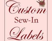 40 benutzerdefinierte Baumwolle Nähen-IN Etiketten - Fabric Kleidungsstück Tags mit IHREM Logo
