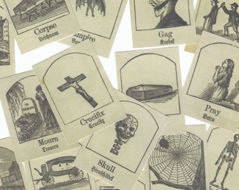 25pcs MACABRE VICTORIAN STICKERS 1880s German & English Translation