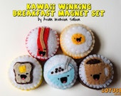 Kawaii Winking Breakfast Collection - set of 5 - bacon, eggs, coffee, cereal and toast - READY TO SHIP