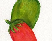 Roma tomatoes watercolors paintings original, green tomato, Roma tomato, original watercolors paintings of tomatoes, kitchen decor